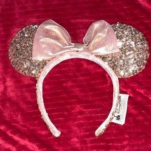 Mickey ears headband- rose gold sparkles NEW